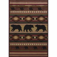 "United Weavers Designer Contours John Q. Native Bear Toffee Mat Rug 2'7  x 4'2 - 31"" x  50"" x  0.47"""
