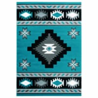 United Weavers of America 2050 10469 28C 2 ft. 7 in. x 7 ft. 4 in. Bristol Caliente Turquoise - 1