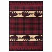 United Weavers of America 2055 40834 69 Cottage Bear Stone Burgundy Area Rectangle Rug, 5 ft. - 1