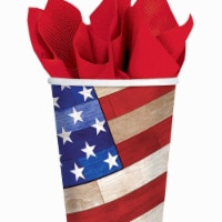 Amscan 731618 3.5 in. x 3 in. Old Glory Patriotic Paper 9 oz Cups - Pack of 54