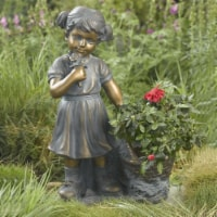 Luxen Home Girl Picking Flowers and Plant Holder Garden Statue - 1