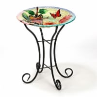 Luxen Home Butterflies with Flowers Bird Bath with Stand - 1