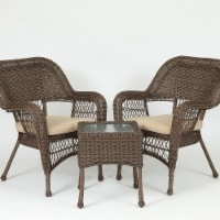 Luxen Home WHOF451 3 Piece Brown PE Rattan Wicker Outdoor Patio Conversation Furniture Set - - 1