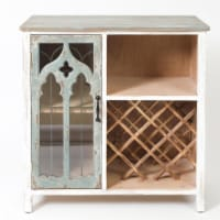 LuxenHome Shabby-Chic Distressed Storage and Wine Cabinet in White and Natural - 1
