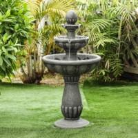 Luxen Home Roma Resin 2-Tier Stone Finish Outdoor Fountain - 1