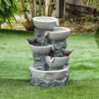 Luxen Home Polyresin Tiered Pots Outdoor Fountain