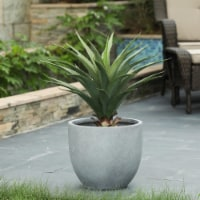 Luxen Home Round Light Gray Finish Planter (Large)