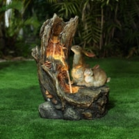Luxen Home Resin Bunnies Outdoor Fountain with LED Lights