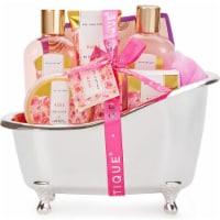 Spa Baskets for Women, 8pcs Rose Bath Gift Set,Includes Bath Bombs, Bath Salts, Bubble Bath - 10x5x9.5inches
