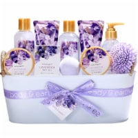 12 Pcs Lavender Bath Spa Gift Basket, Gift with Shower Gel, Bubble Bath, and more - 12.5x5.5x9.5