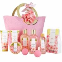 Bath Spa Gift Basket for Women, 10pcs Rose Bath Kit with Body Lotion, Shower Gel, ect - 14x6x14