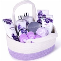 11Pcs Spa Gift Baskets for Women, Lavender Bath Gift Set Holiday Home Gifts - 10x7x9