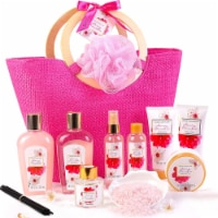 11pcs Spa Gift Baskets with Cherry Blossom Scent Shower Gel, Body Lotion and More - 13x6x14.5