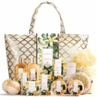 15 Pcs Vanilla Spa Gift Basket for Women, Home Holiday Birthday Bath Shower Set - 10.5x7x8.5