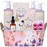 Rosewater and Lavender 11 Pcs Bath and Body Gift Baskets, Body Lotion, Shower Gel and More - 12.5x6.5x10.5
