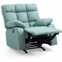 Glory Furniture Cindy Twill Fabric Rocker Recliner in Teal - 1