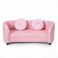 Gymax 2 Seat Kids Sofa Armrest Chair with Two Cloth Pillows Perfect for Girls Pink - 1 unit