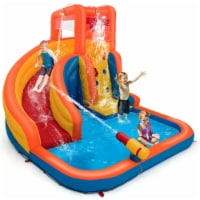 Gymax Inflatable Splash Water Bouncer Slide Bounce House w/ Climbing Wall & Water Hose - 1 unit