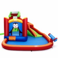 Gymax Inflatable Slide Bouncer and Water Park Bounce House Splash Pool Water Cannon - 1 unit