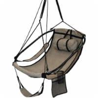 Hanging Hammock Camping Chair Swing w/Armrest - Drink Holder & Footrest - Beige - 1 Hammock Chair