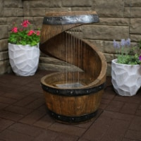 """Sunnydaze Square 2-Tier Bird Bath Outdoor Water Fountain 25"""" Water Feature w/LED"""
