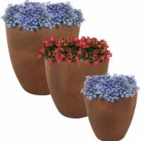Sunnydaze 3-Piece Indoor/Outdoor Planter Textured Fiber Clay with Rust Color - Includes 3 planters