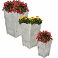 Sunnydaze 3-Piece Fiber Clay Indoor/Outdoor Faux Wood Square Flower Planter Pot - 3 planters