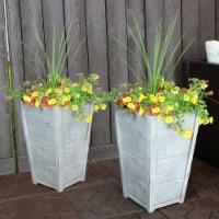 """Sunnydaze Fiber Clay Square Faux Wood Planter Barrel Planter - Set of 2 - 13"""" - 2 planters"""