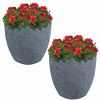 Sunnydaze Fiber Clay Round Planter Pot - 15-Inch Set of 2 - Gray Sandstone - 2 planters