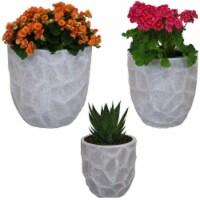 Sunnydaze 3-Piece Fiber Clay Carved Stone Indoor/Outdoor Planter - Light Gray - 3 planters