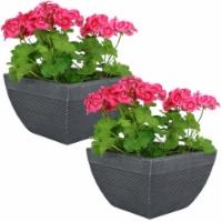 "Sunnydaze Residency Fiber Clay Indoor/Outdoor Modern Planter - Set of 2 - 12"" - 2 planters"