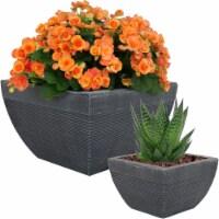 "Sunnydaze 2-Piece Residency Fiber Clay Flower Planter Set - 8"" and 14"" Pots - 2 planters"