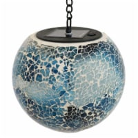 "Sunnydaze Hanging Orb with LED Solar Light Sea Mist Mosaic Garden Decor - 6"" - 1 hanging gazing ball"