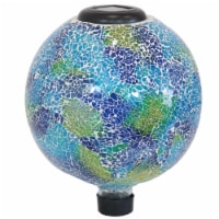 "Sunnydaze Azul Terra Crackled Glass Gazing Globe with LED Solar Light - 10"" - 1 gazing ball"