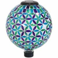 "Sunnydaze Cool Blooms Outdoor Glass Mosaic Gazing Globe with Solar Light - 10"" - 1 gazing ball"