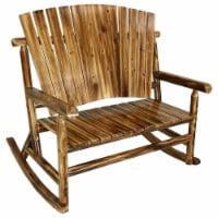 Sunnydaze Rustic Fir Wooden Log Cabin Rocking Loveseat - 500-Pound Capacity - 1 Rocking Loveseat