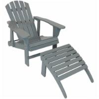 Sunnydaze Wood Adirondack Chair with Adjustable Back and Ottoman - Gray