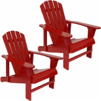 Wood Adirondack Chair with Adjustable Backrest Set of 2- Red