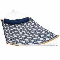 Sunnydaze Quilted Hammock -Curved Bars -Portable/Collapsible-Navy & Gray Octagon - 1 Hammock