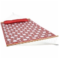 Sunnydaze Quilted Double Fabric Hammock with Spreader Bars - Red & Gray Octagon - 1 Hammock
