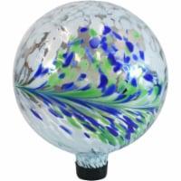 "Sunnydaze Garden Gazing Globe Floral Spring Splash White, Green and Blue - 10"" - 1 Gazing Globe"