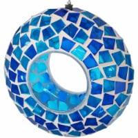 "Sunnydaze Outdoor Hanging Bird Feeder Blue Mosaic Fly-Through Design - 6"""