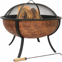 Sunnydaze Large Copper Finish Outdoor Fire Pit Bowl with Screen - 32-Inch
