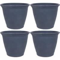 Sunnydaze Anjelica Outdoor Flower Pot Planter - Slate Finish  - 24-Inch - 4-Pack - 4 Planters