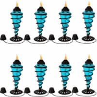 Sunnydaze Blue Glass Outdoor Tabletop Torches - Citronella Torch - Set of 8 - 8 Torch Vessels