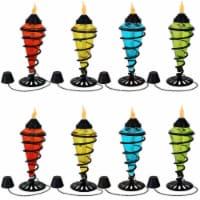 Sunnydaze Colored Glass Outdoor Tabletop Torches - Fiberglass Wicks - Set of 8