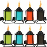 Sunnydaze Multi-Color Outdoor Backyard Patio Tabletop Metal Torches - Set of 8