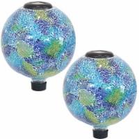 "Sunnydaze Azul Terra Outdoor Glass Gazing Globe w/  Solar Light- Set of 2 - 10"" - 2 gazing balls"