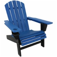 Sunnydaze All-Weather Blue/Black Outdoor Adirondack Chair with Drink Holder