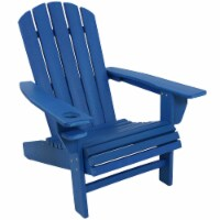 Sunnydaze All-Weather Blue Outdoor Adirondack Chair with Drink Holder